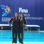 Natalie Lubascher y Kelley Kobler ocuparon el puesto 27 del nado sincronizado en Rusia