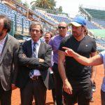 Ministro del Deporte y Nicolás Massú visitaron la remodelación del Court Central del Estadio Nacional