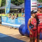 Bárbara y Gaspar Riveros se subieron al podio en el Triatlón de Raby Bay