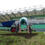 La cancha del estadio Germán Becker se prepara para recibir a la Selección de Rugby